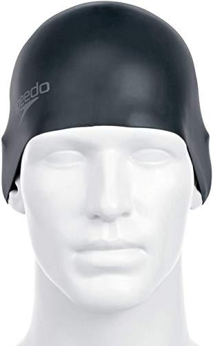 Speedo Plain Moulded - Gorro de natación, tamaño único, color negro