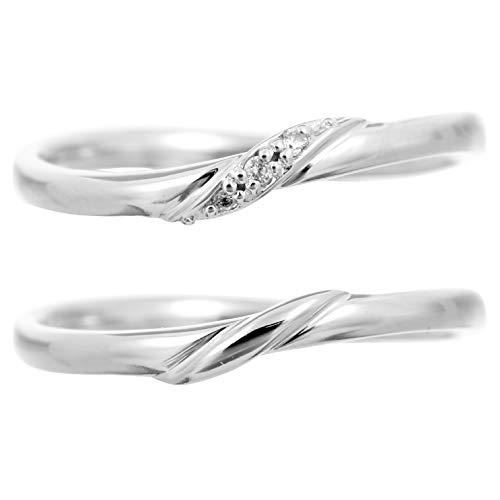 [ココカル]cococaru プラチナ Pt900 ペアリング 2本セット 結婚指輪 マリッジリング ダイヤモンド 日本製(レディースサイズ13号 メンズサイズ15号)