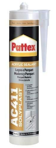 Pattex AC411, silicona acrílica madera tipo haya, acabado mate y alisado, 300ml