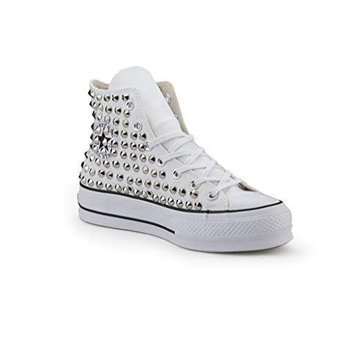 Scarpe Platform Personalizzate Borchiate Sneakers (Artigianali) con Borchie Cono Argento