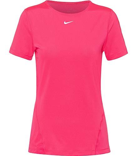 NIKE All Over Mesh T-Shirt Camiseta para Mujer, Rosa/Blanco, Large