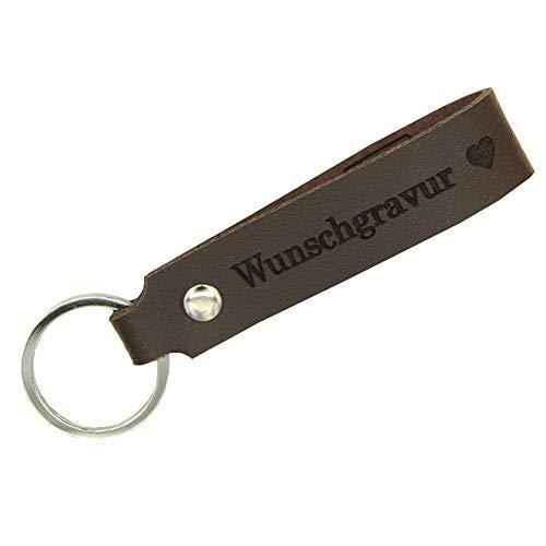 Tidero Schlüsselanhänger aus Leder mit Wunschgravur, individuelle Gravur, beidseitig - Schlüsselring Schlüsselband Schlüsselbund - Geschenk für Männer Frauen, 100{cb0d2338b731b61d03d840ff9e8c23f797d95f8f1c2b3c4226e035b0f419be91} Handmade in Germany - Dunkelbraun