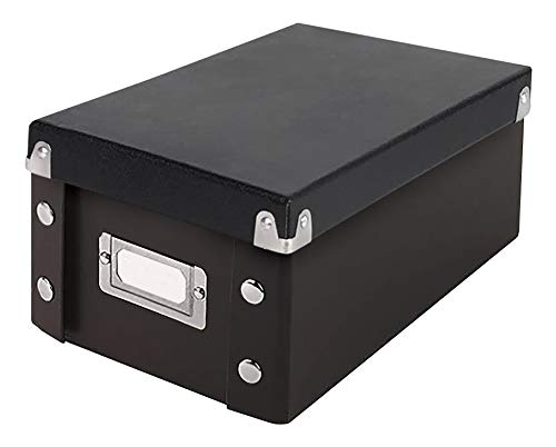 Snap-N-Store Durable Collapsible Index Card File, Fits 1100 4 x 6 Inch Index Cards (SNS01577),Black