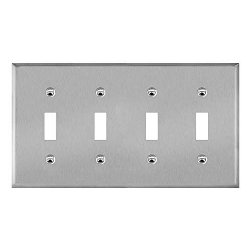 ENERLITES Toggle Light Switch Metal Wall Plate, Corrosion Resistant, Size 4-Gang 4.50