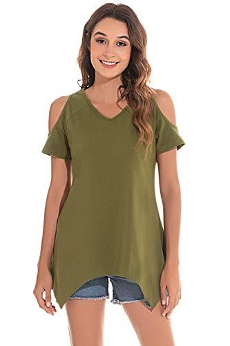 heekpek Bluas de Mujer T-Shirt Camiseta Manga Corta Mujer Verano Estampado de Plumas Cuello en V Elegante Fuera del Hombro Básicas Casual Tops
