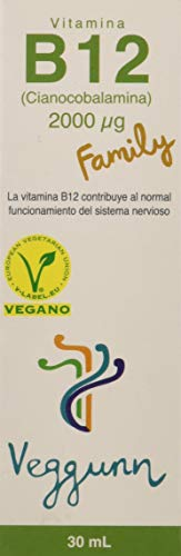 Veggunn Vitamina B12 Family Líquida Sublingual Natural, Certificado Vegano, 30 ml