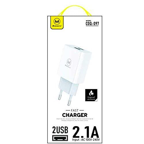 Mimacro Caricatore USB di rete con doppia USB, caricatore rapido per cellulare, 5 V, 2,1 A, 100 V-240 V, per iPhone, iPad, Samsung, Huawei, Xiaomi, LG, Nexus, HTC e altri