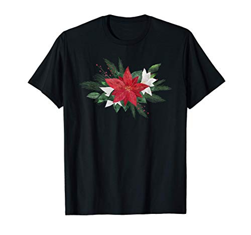 Decorative Poinsettia Traditional Red Christmas Flower Plant T-Shirt