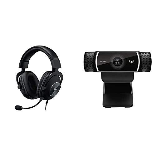 Logitech G Pro X Gaming Headset with Blue Voice Technology - Black & C922x Pro Stream Webcam – Full 1080p HD Camera