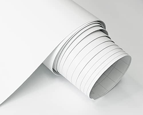 Vinilo Adhesivo Mate Ancho 40/60 Cm Para Muebles Cocina Paredes Ventanas Manualidades Papel Adhesivo Decorativo (40x300 cm, BLANCO)