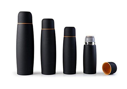 Ibili 745803 - Botella isotermica para liquidos, acero inoxidable, color negro, 20 x 7 x 7 cm