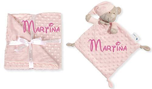 Set de Manta + Dou dou Personalizado con nombre bordado Oso Rosa Baby Shower - mibebestore