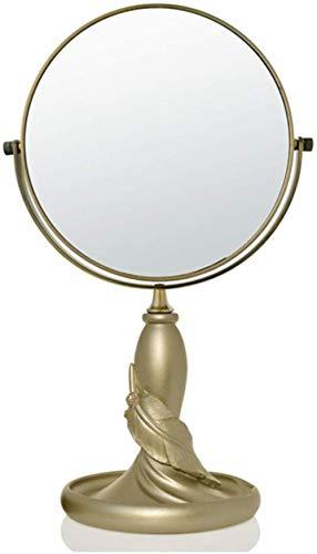 Miroir de maquillage LHY Creative Double Face Bureau Miroir Miroir Princesse Habiller Mignon Bureau Loupe La Mode (Color : Golden, Size : 28 * 12.3 cm)