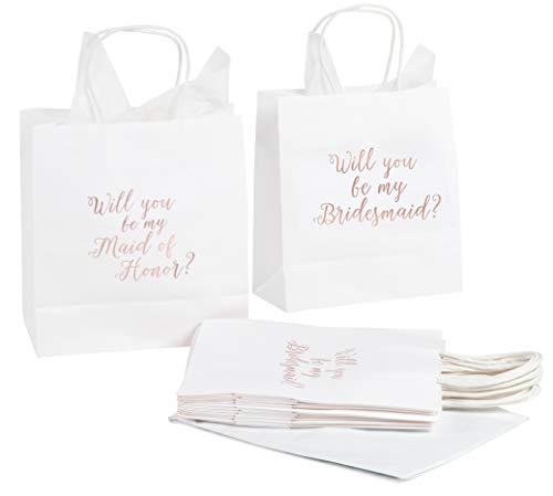 """Geschenktüte mit Schriftzug """"Bridesmaid and 1 Maid of Honor"""", roségoldfarbene Folie, inklusive 20 Blatt Seidenpapier, perfekt für """"Will You Be My Bridesmaid"""", weiß, 22,9 x 20,3 x 10,2 cm"""