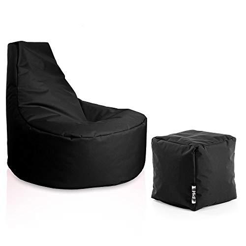 Patchhome Gamer Sessel inkl. Würfel Bean Bag Set Ø80cm, 30cm Sitzhöhe, 90cm Höhe + 35x35cm Würfel Schwarz