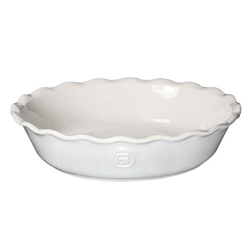 "Emile Henry Made In France HR Modern Classics Pie Dish, 9"", White"