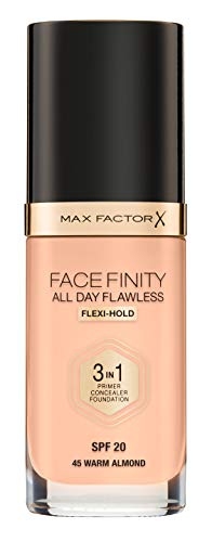 Max Factor Facefinity All Day Flawless 3 in 1 Fondotinta Liquido a Lunga Durata, 45 Warm Almond, 30 ml