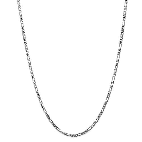 14ct wit goud massief gepolijst kreeft Claw sluiting 3.0mm platte Figaro ketting armband - kreeft Claw - 20 Centimeters