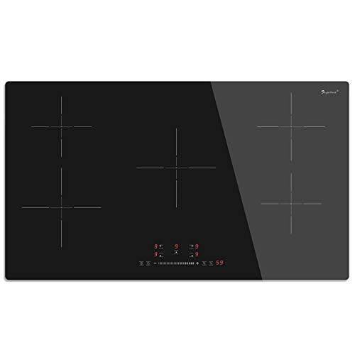 """36"""" Built-in Induction Cooktop, SINGLEHOMIE 5 Burner Chef 240V Electric Induction Hob, Bult-in Induction Stovetop, 9 Power Levels, Sensor Touch Control, Child Safety Lock, 1-99 Minutes Timer"""