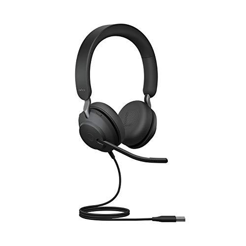 Jabra Evolve2 40 Auriculares Estéreo PC con Cancelación de Ruido y Tecnología de Llamada con Tres Micrófonos - Certificados para Plataformas UC - Cable USB-A - Negro