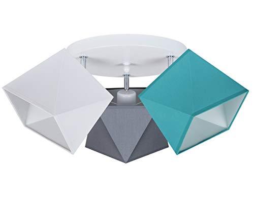 Deckenlampe Deckenleuchte HausLeuchten WEGRTU-PR3030WE Leuchte Lampe 3 Lampenschirme Wohnzimmerlampe Schlafzimmerlampe Küche Kinderzimmer Lampe LED (Weiß - Grau – Türkis)