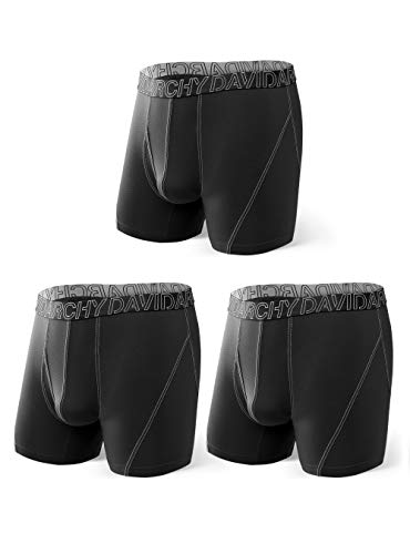 DAVID ARCHY 3 Pack Men's Ultra Soft Mesh Quick Dry Sports Underwear Breathable Boxer Briefs with Fly (XXL, Black)