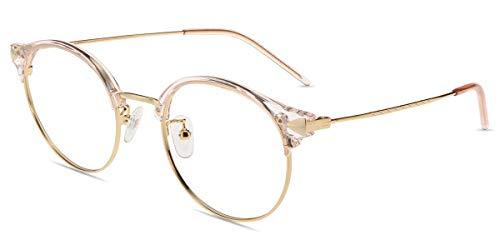 Firmoo Blaulicht Lesebrille 1.0 Entspiegelt für Damen Herren, Anti Blaulicht Computerbrille mit Sehstärke, Runde Lesehilfe Sehhilfe Brille Blend UV Schutz, Rahmenbreite 133mm-Mittel