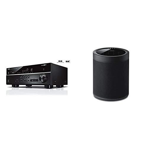 Yamaha RX-D485 AV-Receiver Schwarz & MusicCast 20 Soundbox (Kabelloser 2 Wege Netzwerk-Lautsprecher zum Musikstreaming ohne Grenzen – Multiroom WLAN-Speaker kompatibel mit Amazon Alexa) schwarz