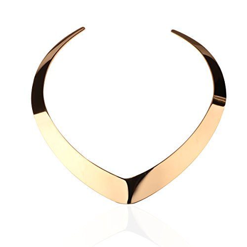 Carfeny 14K Gold Plated Choker Necklaces for Women,Love Heart Shaped End Open Adjustable Statement Necklace