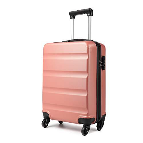 Kono Koffer mit 4 Drehrollen und Zahlenschloss aus ABS 55x38x20cm (Nude)
