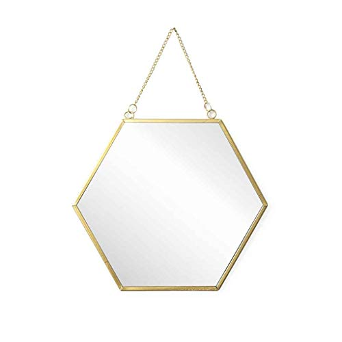 Espejo pared de pared decorativo hexagonal Mirror, metálico, estilo étnico & boho chic, nórdico, bonito y moderno, ligero, para pasillo baño o entrada, metal, color dorado, 26x30x1 cm.