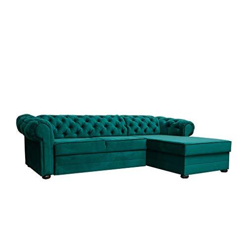 MOEBLO Chesterfield Ecksofa Sofa Couch Garnitur Stoff Samt (Velour) Glamour Wohnlandschaft - Avia (Dunkelgrün, Ecksofa Rechts,ohne schlaffunktion)