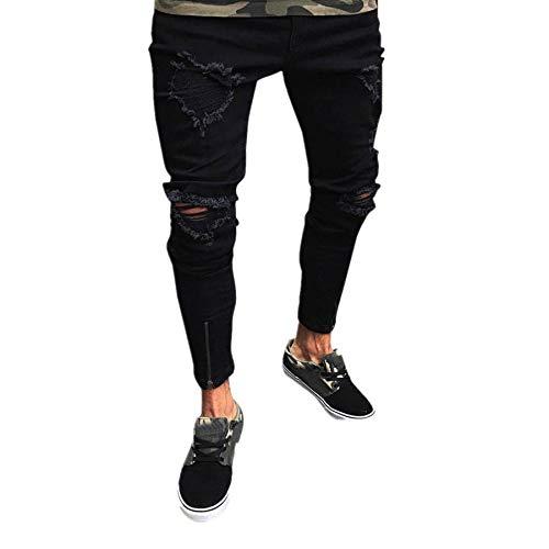 Qmber Hosen Herren Jeans Destroyed Slim fit Hose Herren Jeans Destroyed Sommer Hosen Herren Jogger Jeans mit löchern schwarz Stretch Herren - Männer Slim Biker Jeans Hose (M, Schwarz)