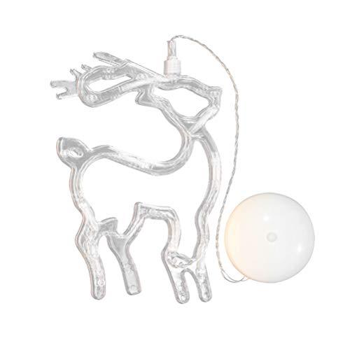 LEDMOMO Julbelysning – älg hängande fönsterlampa med sugkopp och batteridriven för juldekoration (varmt vitt ljus)