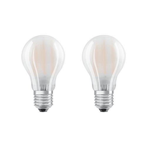 Osram Lot de 2 Ampoules LED à Filament Dépolies | Culot E27 | Forme Standard | Blanc Froid 4000K | 8W (équivalent 75W)