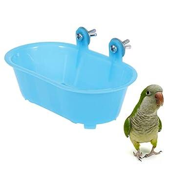 POPETPOP Bain d'oiseau pour Oiseaux en Cage-Bain d'oiseaux avec Miroir, Petit Bain d'oiseaux pour Cage, Baignoire de Perroquet Piscine pour Les Oiseaux Perroquet Baignoire avec Miroir en Bas