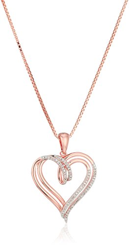 14k Rose Gold over Sterling Silver Diamond Double Heart Pendant Necklace 1/10 cttw18quot