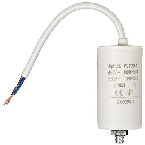 Condensador arranque motor electrico 16.0 uF 450 V con cable Blanco