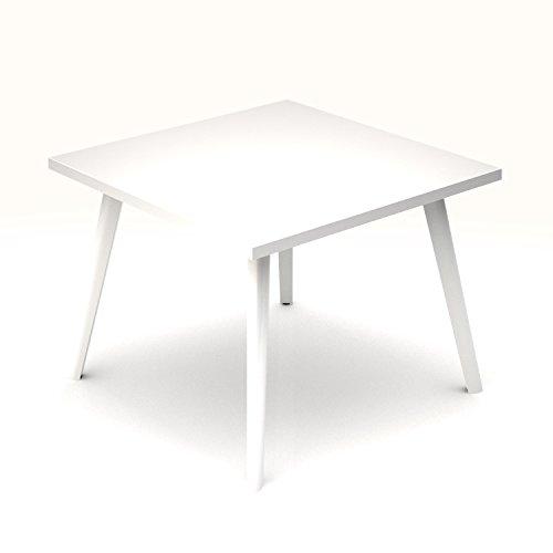 Weber Büro Beistelltisch Amber Quadratisch 700 x 700 mm Couchtisch Kaffeetisch Loungetable Loungetisch Ablagetisch, Melamin-Farbe:Weiß