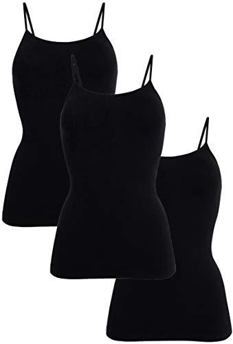 UnsichtBra Pack de 3 camisetas interiores para mujer con tirantes finos, de microfibra, sin aros, camiseta interior para mujer, color blanco, negro y beige 3 x negro XL/XXL