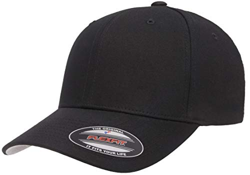 Flexfit Cotton Twill Fitted Cap, Black, Large/Extra Large