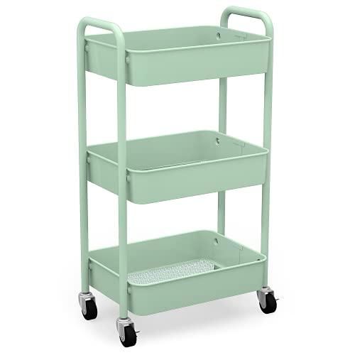 CAXXA 3-Tier Rolling Metal Storage Organizer - Mobile Utility Cart, Kitchen Cart with Caster Wheels (Aqua Green)