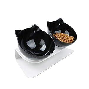 Xiuinserty - Cuenco antideslizante para mascotas con soporte elevado, comedero para mascotas, comedero para gatos y perros negro 4