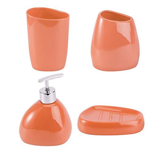 FRCOLOR 4 Piezas Conjunto de Baño de Acrílico Taza de Baño Vaso Vaso de Cepillo de Dientes Soporte de Plato de Jabón Champú Loción Bomba Botella Accesorio (Rojo)