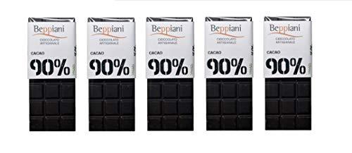 Beppiani – Coffret de 5 Tablettes de Chocolat Noir Fondant 90% – 350 g – Chocolat Artisana – FABRIQUE EN ITALIE
