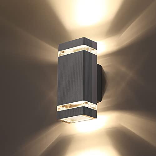 CELAVY 1 Pack Quadratische LED Pforte auf and ab Lights Outdoor Wand Licht, Körper in Aluminium Wasserdichte Outdoor-Wandlampen, 3000K 5W mit ETL Zertifikat