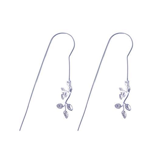 Vintage S 925 zilveren oorbellen vrouwen Inlay Ear-Line, bladeren, blad lange fashion Court creatieve temperament elegant geschenk persoonlijkheid trendy 3D