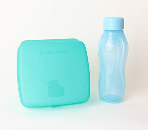 lunch box Fiambrera Tupperware, sándwich Santoro, Color Turquesa A126 + 310 ml Eco Easy Botella para Llevar Azul + 1 – 2 Piezas al Azar