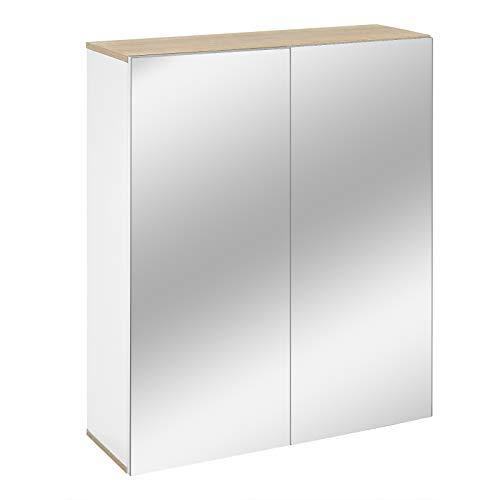 WOLTU Spiegelschrank Hängeschrank mit Spiegel Badschrank Wandschrank Badezimmerschrank Spiegeltürenschrank aus Spanplatte Weiß BZS53ws
