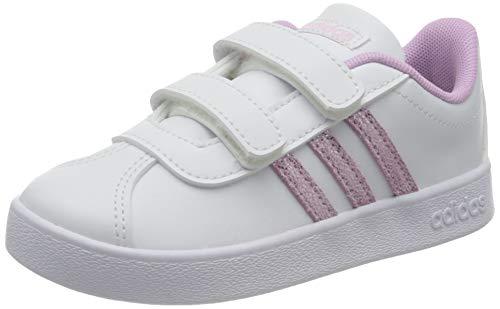 adidas Unisex Baby VL Court 2.0 CMF Sneaker, Cloud White/Clear Lilac/Cloud White, 26 EU